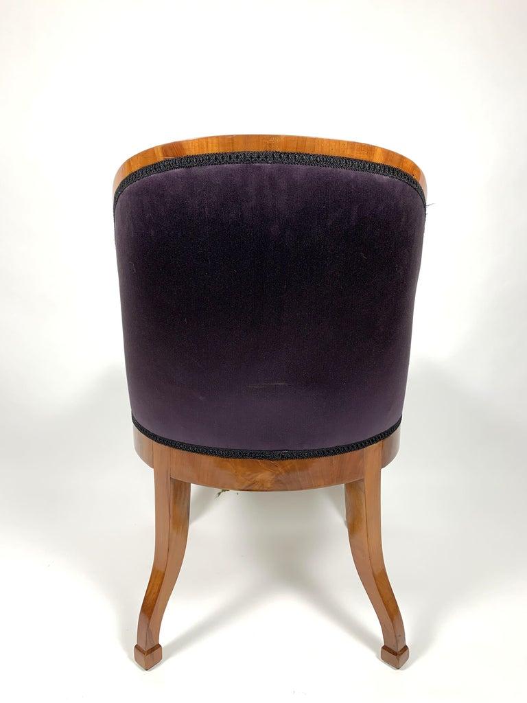 Garderobe Armchair with Purple Silk Fabric, 1900s For Sale 2