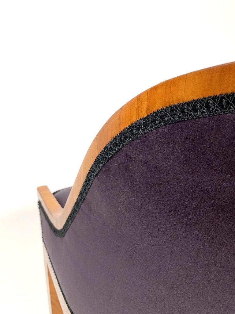 Garderobe Armchair with Purple Silk Fabric, 1900s For Sale 3
