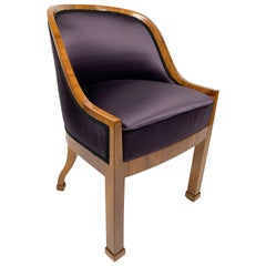 Garderobe Armchair with Purple Silk Fabric, 1900s