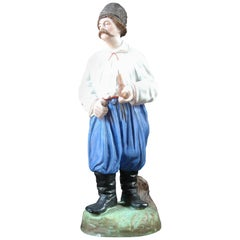 Gardner of Moscow 19th Century Biscuit Porcelain Figure of Cossack with a Pipe