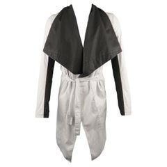 GARETH PUGH 36 White & Black Color Block Draped Collar Coat