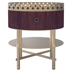 Gargi Bolivar Wood and Metal Luxury Side Table Craftsmanship Made in Italy