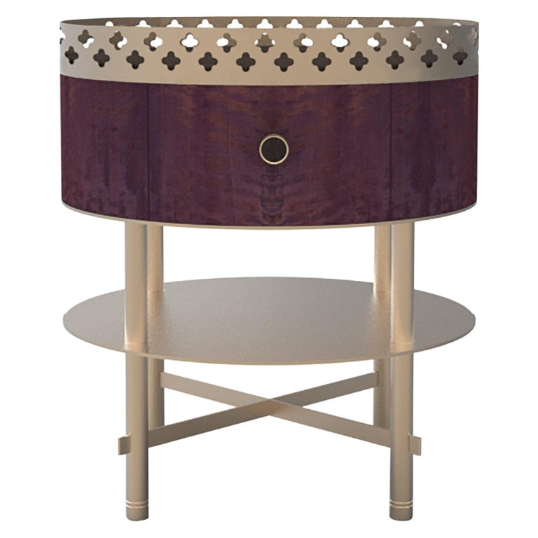 Gargi Bolivar Wood and Metal Luxury Side Table Craftsmanship Made in Italy For Sale