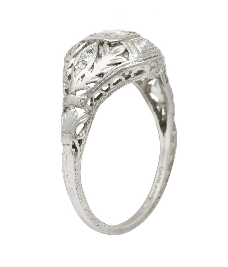 Garland Edwardian 0.30 Carat Diamond Foliate Dinner Ring For Sale 5