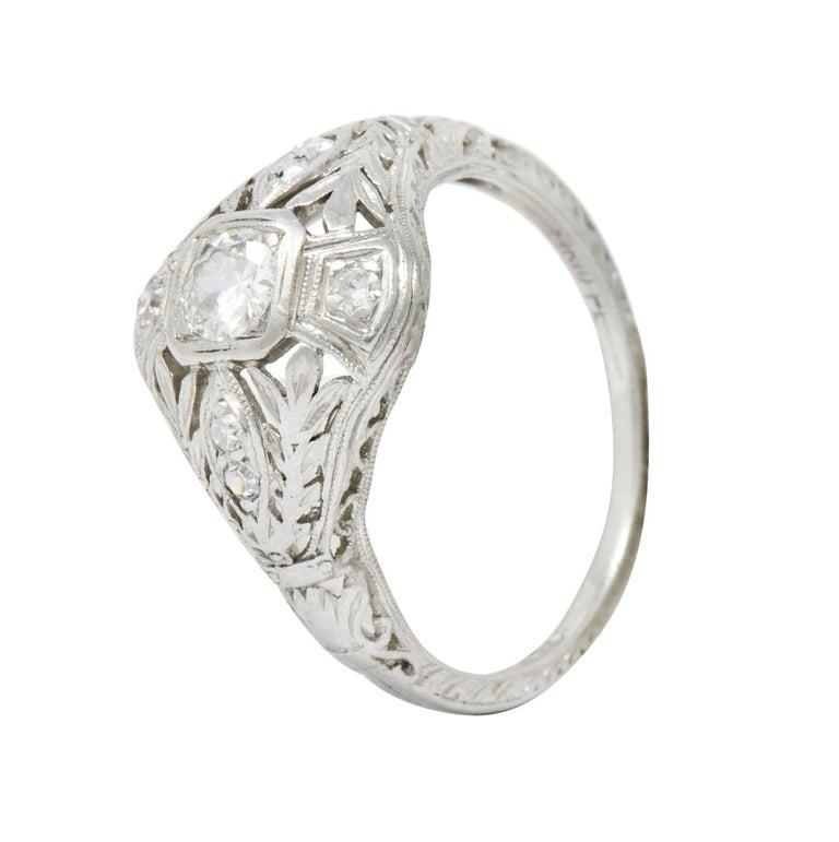 Garland Edwardian 0.30 Carat Diamond Foliate Dinner Ring For Sale 6