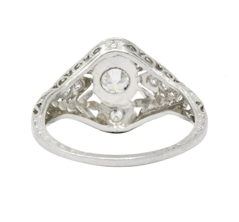 Garland Edwardian 0.30 Carat Diamond Foliate Dinner Ring In Excellent Condition For Sale In Philadelphia, PA