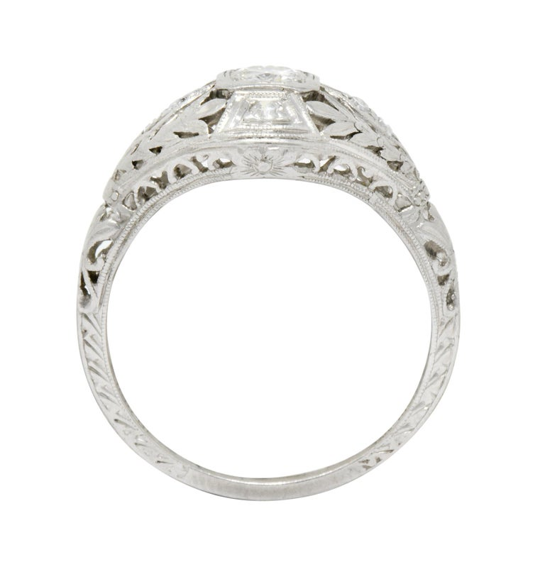 Garland Edwardian 0.30 Carat Diamond Foliate Dinner Ring For Sale 4