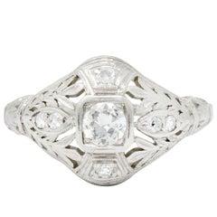 Garland Edwardian 0.30 Carat Diamond Foliate Dinner Ring