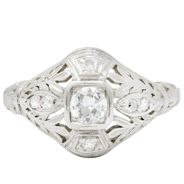 Garland Edwardian 0.30 Carat Diamond Foliate Dinner Ring For Sale