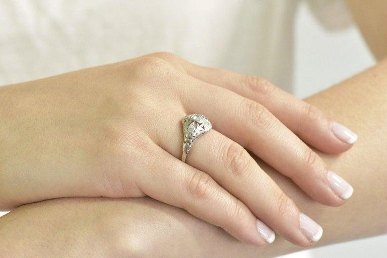 Garland Edwardian 0.30 Carat Diamond Foliate Dinner Ring For Sale 9