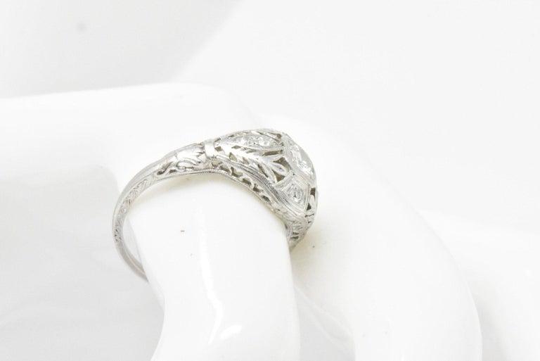 Garland Edwardian 0.30 Carat Diamond Foliate Dinner Ring For Sale 7
