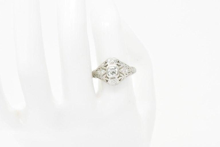 Garland Edwardian 0.30 Carat Diamond Foliate Dinner Ring For Sale 8