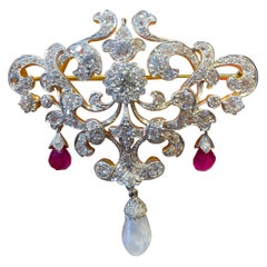 Garland Style Antique Pearl and Ruby Brooch