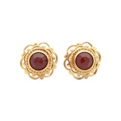 14K Yellow Gold Openwork Solitaire Garnet Stud Earrings