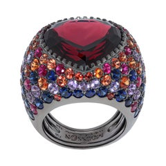 Garnet 17.96 Carat Multi-Color Sapphires Rubies Black 18 Karat Gold Riviera Ring