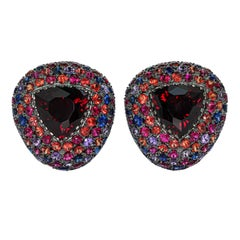 Garnet 5.19 Carat Sapphires Rubies Black 18 Karat Gold Riviera Earrings