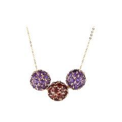 Garnet Amethyst 3 Orb Slide Necklace 14 Karat Yellow Gold Ball Estate Jewelry