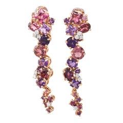 Garnet Amethyst Diamond 18 Karat Rose Gold Dangle Earrings