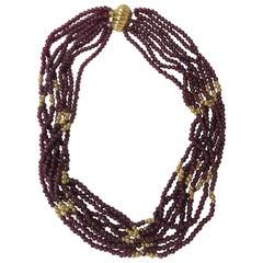 Garnet and 14 Karat Yellow Gold Bead, 7-Strand Necklace