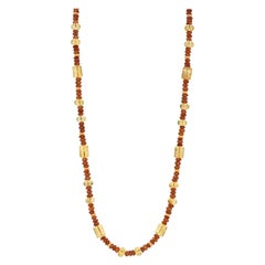 Garnet and Citrine Beaded Necklace with 14k Yellow Gold Accents