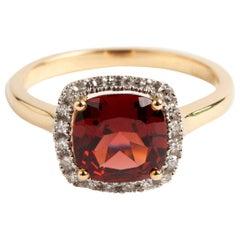 Garnet and Diamond Cluster Ring, Brilliant Cut Diamonds Large Cushion Cut Garnet