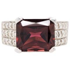 Garnet and Diamond Cocktail Ring in 14 Karat White Gold