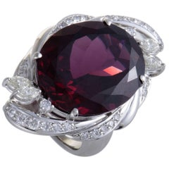 Garnet and Diamond Platinum Cocktail Ring