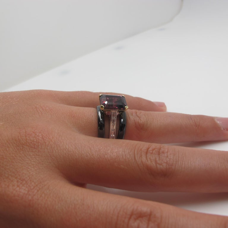 Artisan 6.69 Carat Emerald Cut Rhodolite Garnet and Diamond 18k White Gold Ring For Sale