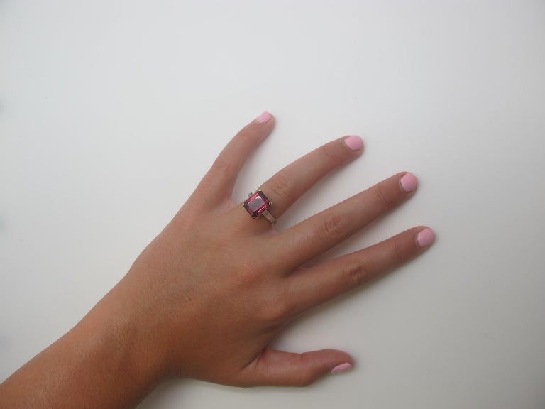 6.69 Carat Emerald Cut Rhodolite Garnet and Diamond 18k White Gold Ring In New Condition For Sale In Los Angeles, CA