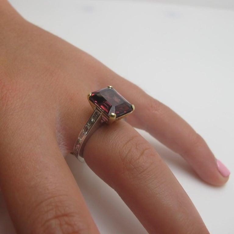 Women's 6.69 Carat Emerald Cut Rhodolite Garnet and Diamond 18k White Gold Ring For Sale