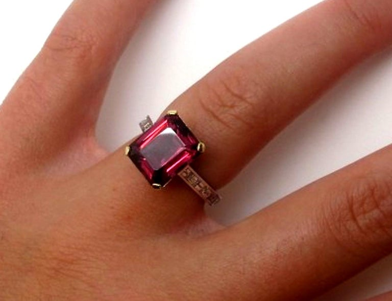6.69 Carat Emerald Cut Rhodolite Garnet and Diamond 18k White Gold Ring For Sale 1
