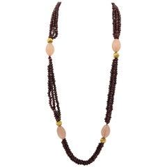 Garnet and Fluted Rose Quartz Multi-Strand Bead Necklace