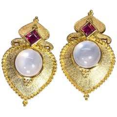 Garnet and Moonstone Earrings 18 Karat Yellow Gold 15.80 Grams