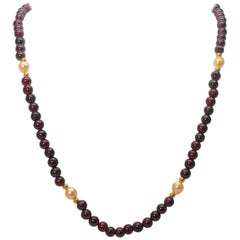 Garnet and Pearl 14 Karat Gold Bead Necklace