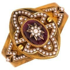 Garnet and Pearl Victorian Gold Cuff Bangle Bracelet Estate Fine Jewelry