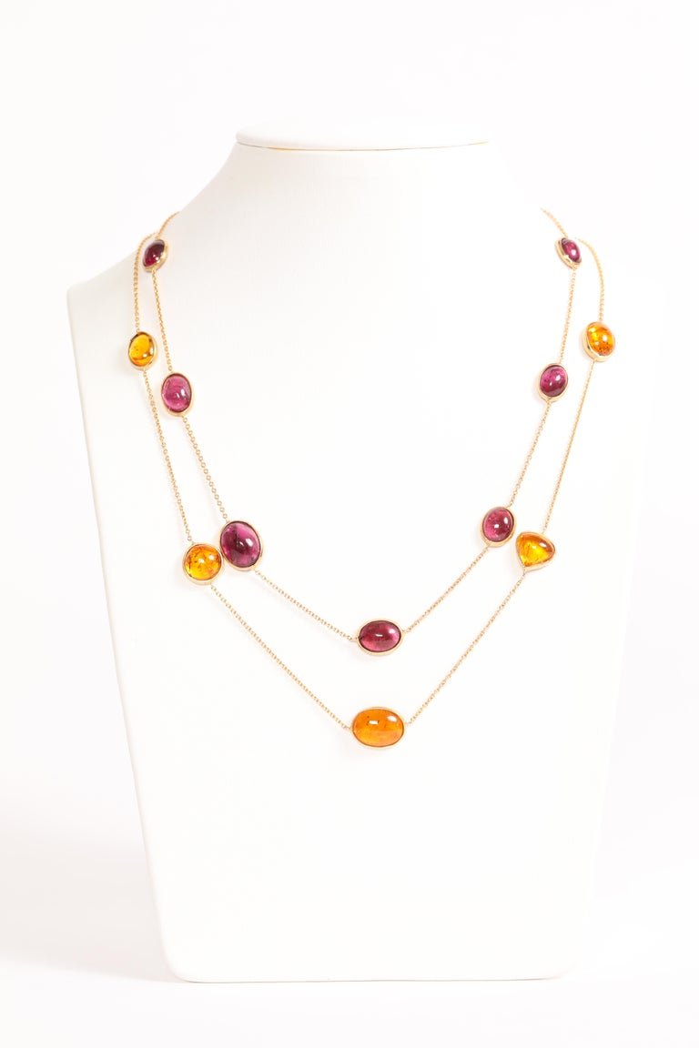 Contemporary Garnet and Tourmaline Cabochons Necklaces Created by Marion Jeantet For Sale
