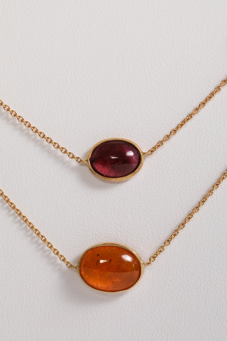 Garnet and Tourmaline Cabochons Necklaces Created by Marion Jeantet In New Condition For Sale In Paris, FR