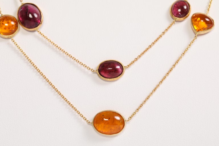 Women's or Men's Garnet and Tourmaline Cabochons Necklaces Created by Marion Jeantet For Sale