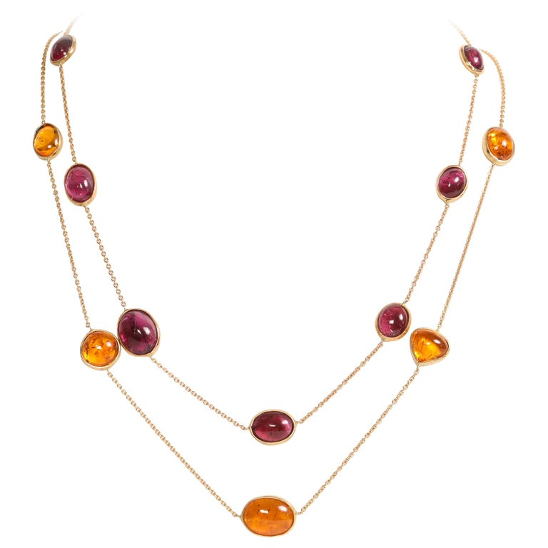 Garnet and Tourmaline Cabochons Necklaces Created by Marion Jeantet For Sale