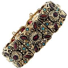 Garnet and Turquoise Bracelet