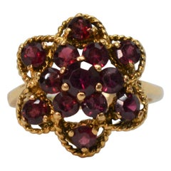 Garnet and Yellow Gold Floral Burst Cocktail Ring