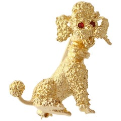 Garnet and Yellow Gold Poodle Brooch