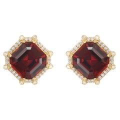 Goshwara Garnet Asscher Cut And Diamond Earrings