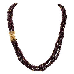 Garnet Bead Multi Strand Necklace with Fancy Yellow Gold Filigree Clasp