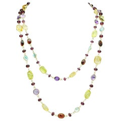 Garnet, Citrine, Amethyst and Topaz Opera Length Necklace in 14 Karat Gold