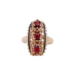 Garnet Cocktail Ring, Estate Cocktail, Yellow Gold, Three Stone Ring