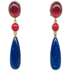Garnet, Corail, and Lapis Lazuli on Pink Gold 18 Karat Chandelier Earrings