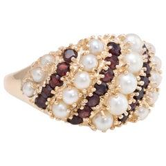 Garnet Cultured Pearl Dome Wide Band Ring Vintage 14 Karat Gold Estate Fine