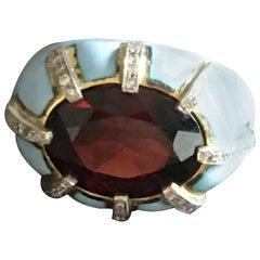 Garnet Diamond 18 Karat Gold Enamel Ring