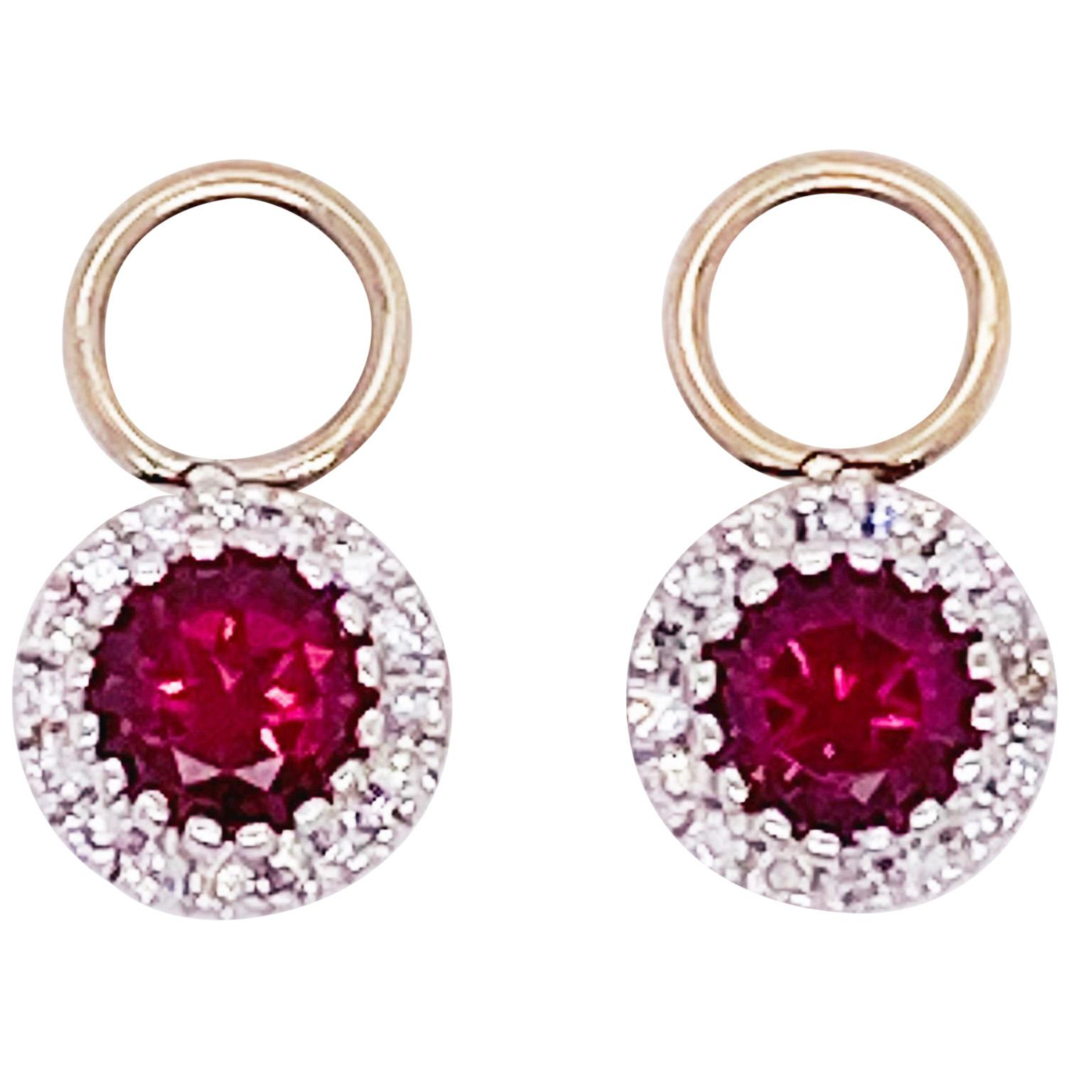 Garnet Diamond Earring Charms, Red Garnet, 14 Karat Gold, Hoop Charm, .79 Carat